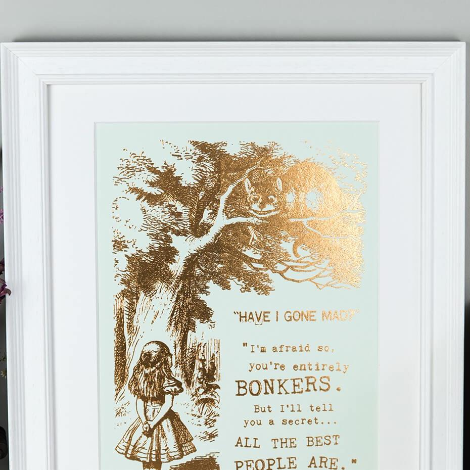 Alice In Wonderland Metallic Foil 'Bonkers' Prints Bronze