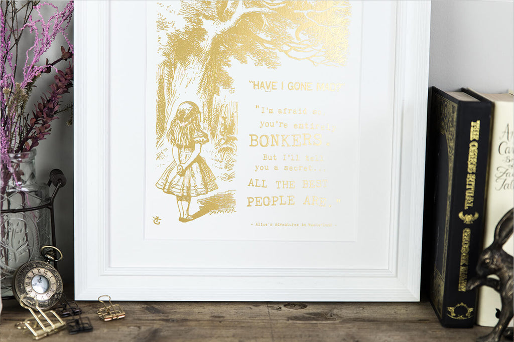 Alice In Wonderland Metallic Foil 'Bonkers' Prints Gold