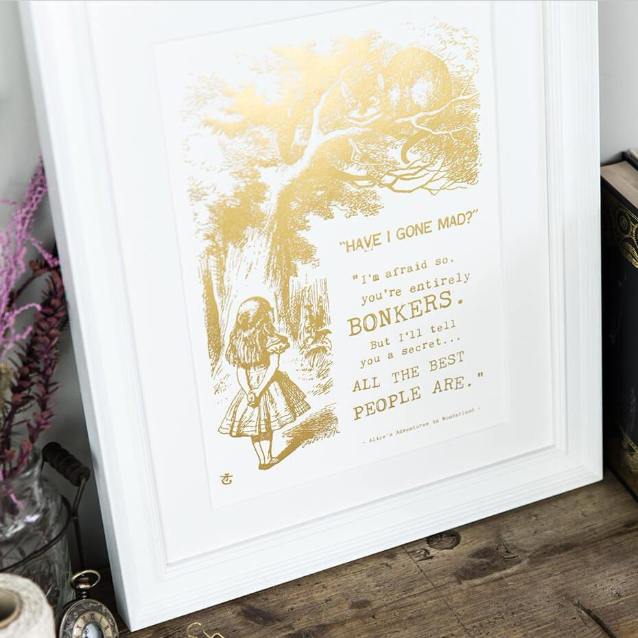 Alice In Wonderland Art Prints 'Bonkers' Gold