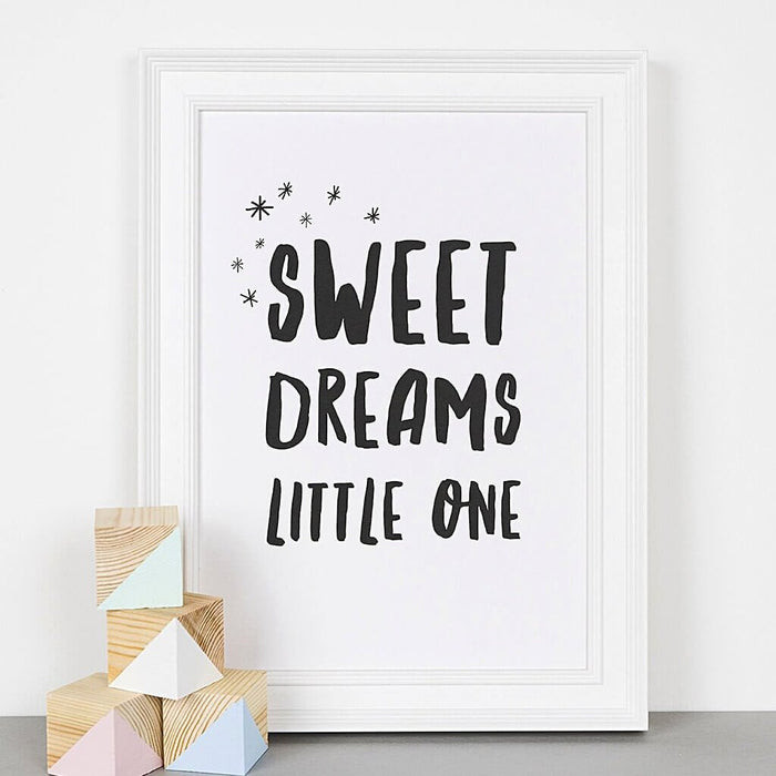 Typographic Nursery Print - 'Sweet Dreams Little One'