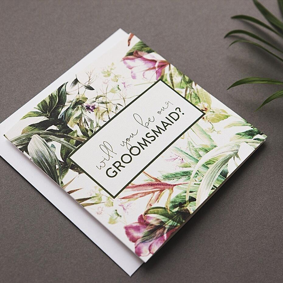 Floral Will you be our groomsmaid card