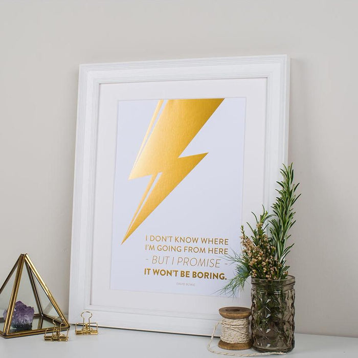 David Bowie Gold Foil Quote Print