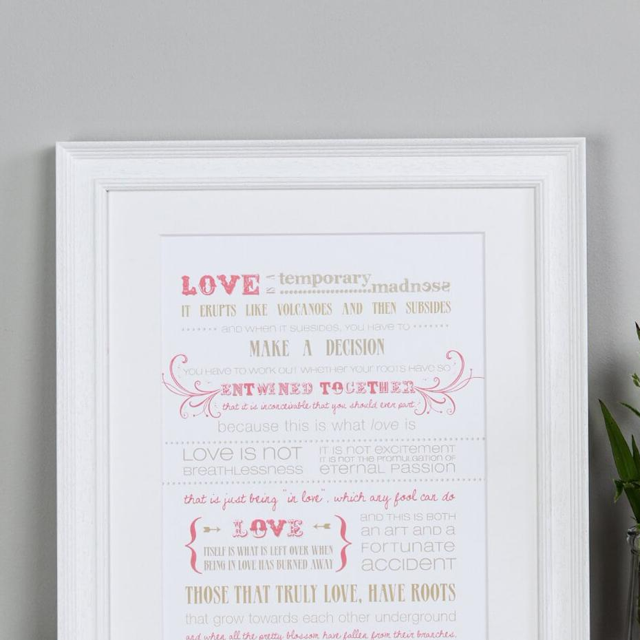 Captain Corelli's Mandolin Quote Print 'Love Is A Temporary Madness'