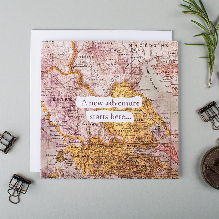 Card for a new adventure - 'A New Adventure Starts Here'