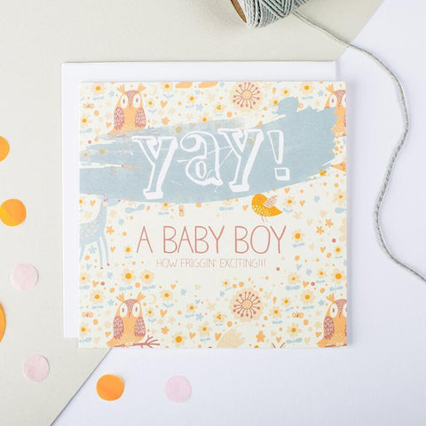 Card for new baby boy - 'Yay A Baby Boy'