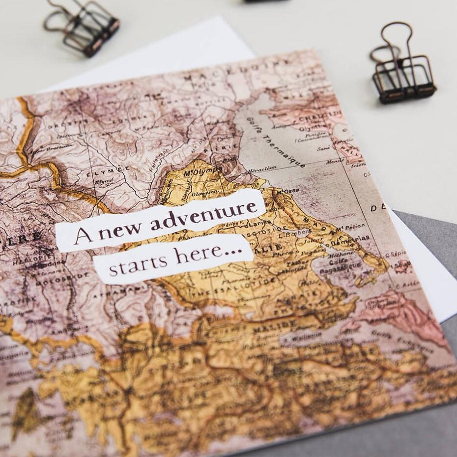 Card for someone going travelling - 'A New Adventure Starts Here'