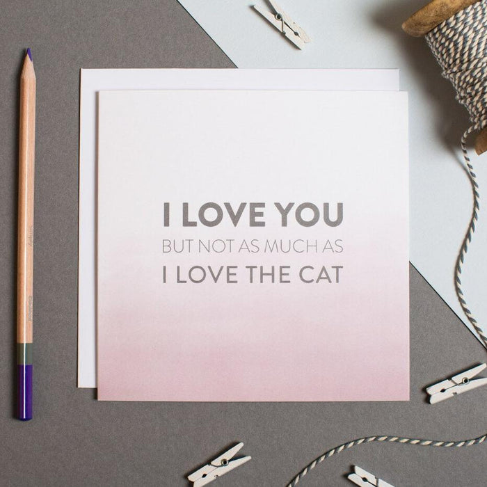 Cat anniversary card - 'I love you but not as much as I love the cat'