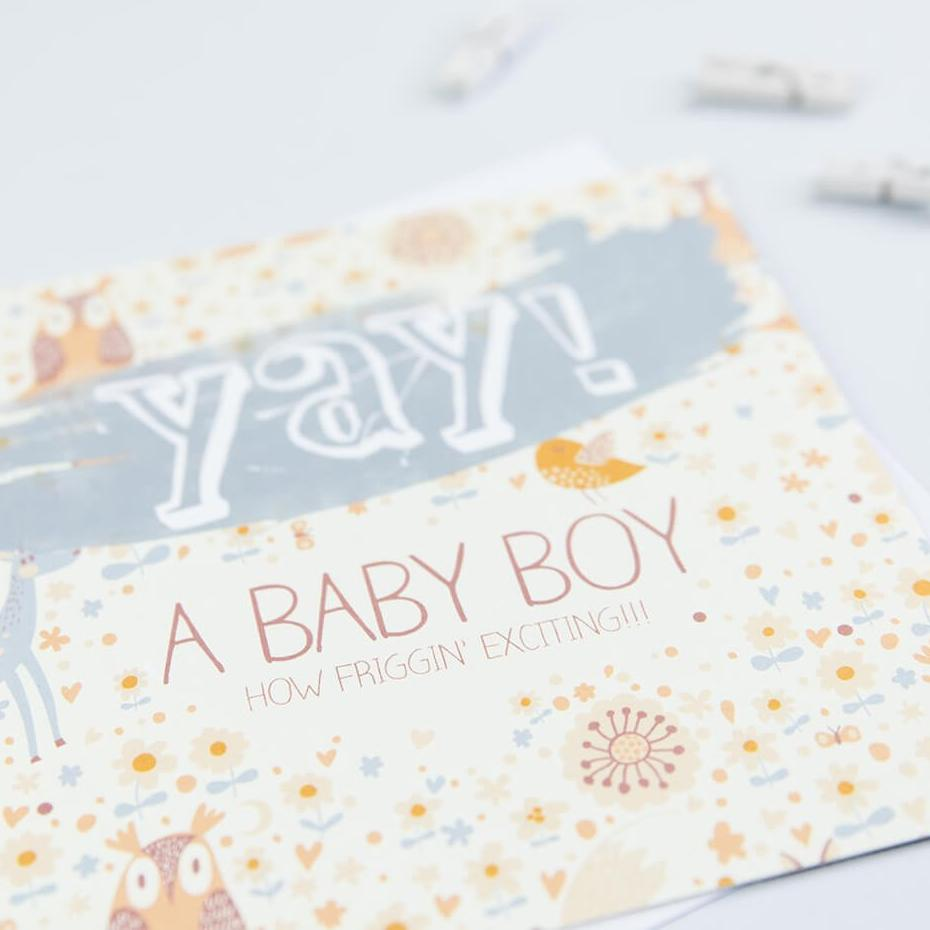 Cute new baby boy greetings card - 'Yay A Baby Boy'