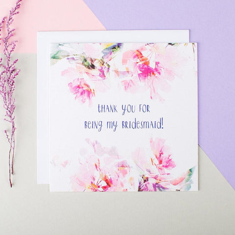 Elegant Bridesmaid Thank You Cards - 'Thank You For Being My Bridesmaid'