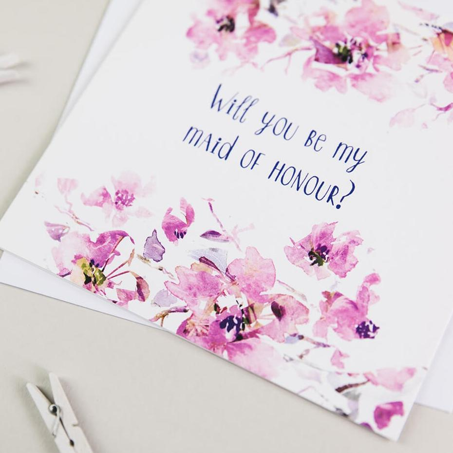 Elegant, Floral 'Will You Be My Maid Of Honour' Wedding Cards