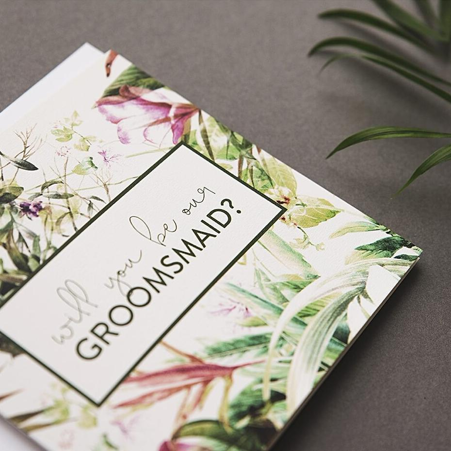 Will you be our groomsmaid tropical card