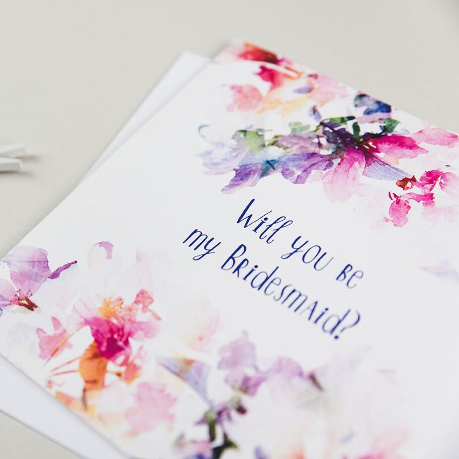 Floral Bridesmaid Proposal Cards - 'Will You Be My Bridesmaid'
