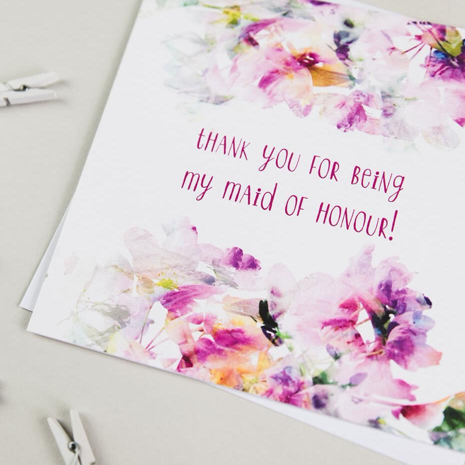 Floral Wedding Cards - 'Thank You For Being My Maid Of Honour'