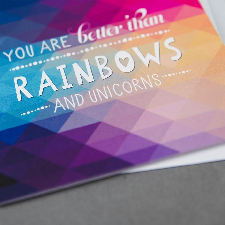Funny unicorn thank you card for friend 'You are better than rainbows and unicorns'