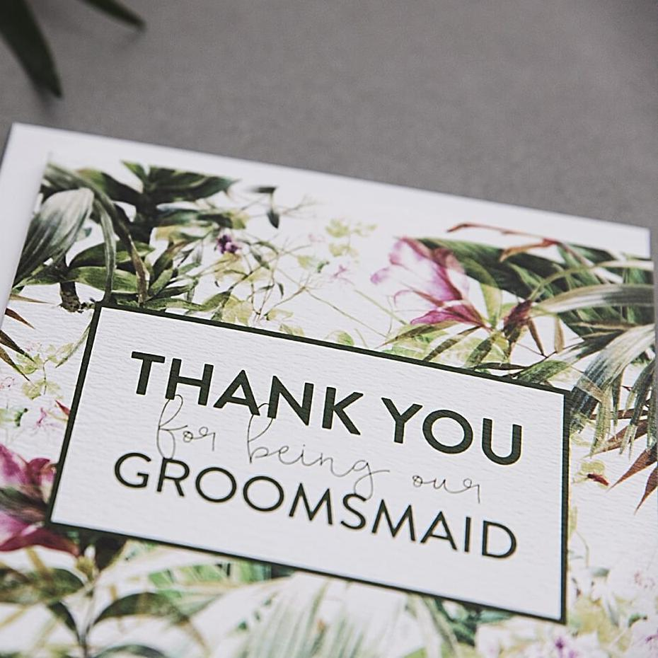 Tropical Thank you Groomsmaid Card