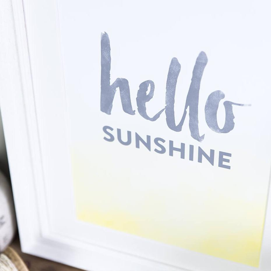 'Hello Sunshine' Typographic Art Print A4