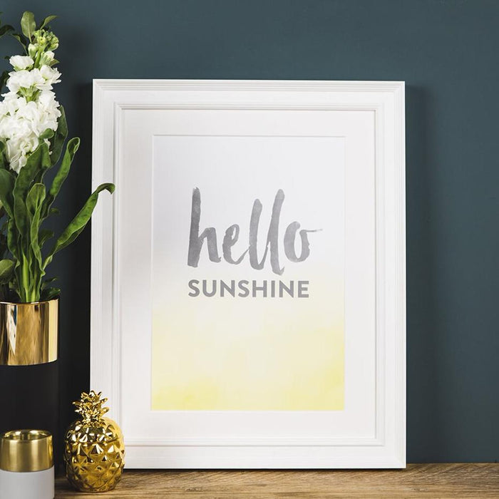'Hello Sunshine' Typographic Wall Art Print A4