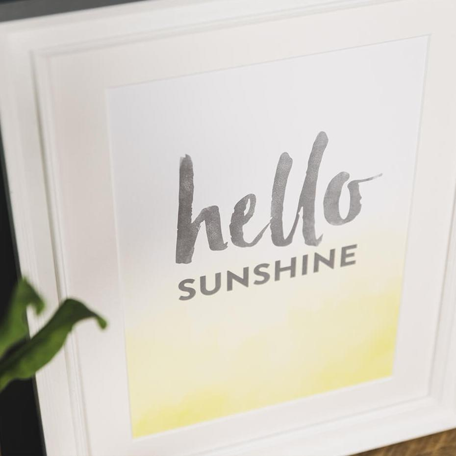 'Hello Sunshine' Typography Print A4