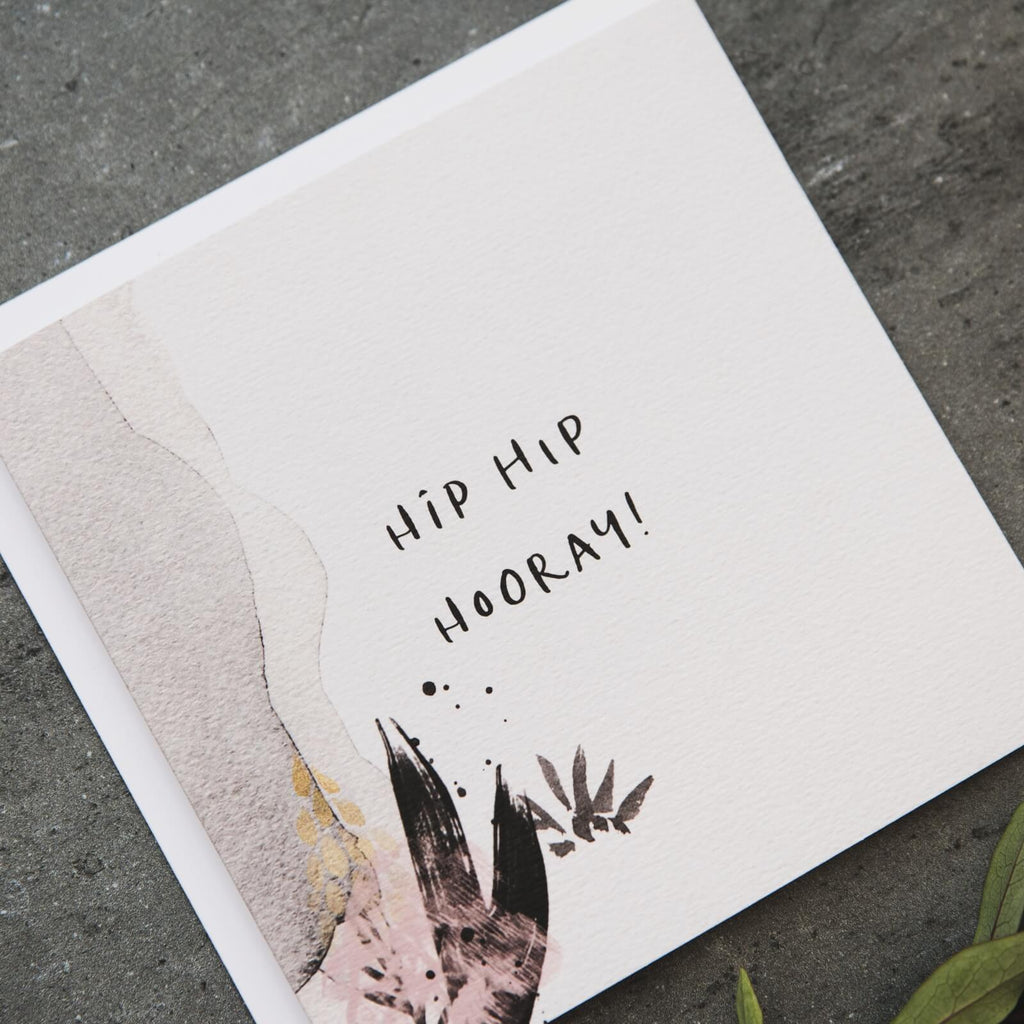 Abstract Congratulations Card 'Hip Hip Hooray'