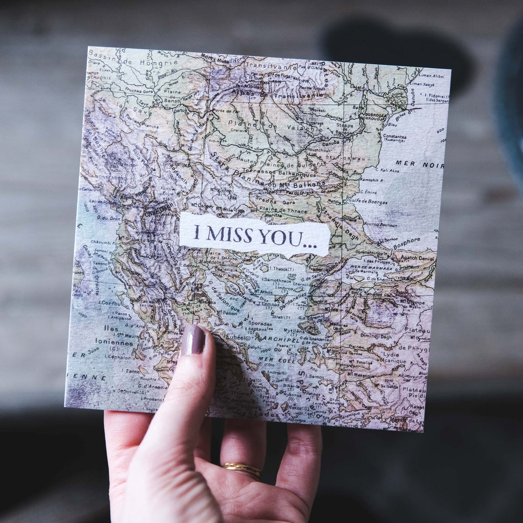 I Miss You Vintage Map Card