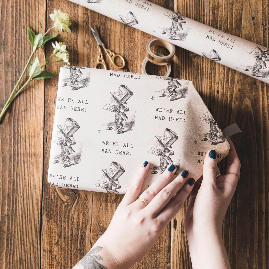 Alice in Wonderland 'We're All Mad Here' Gift Wrap