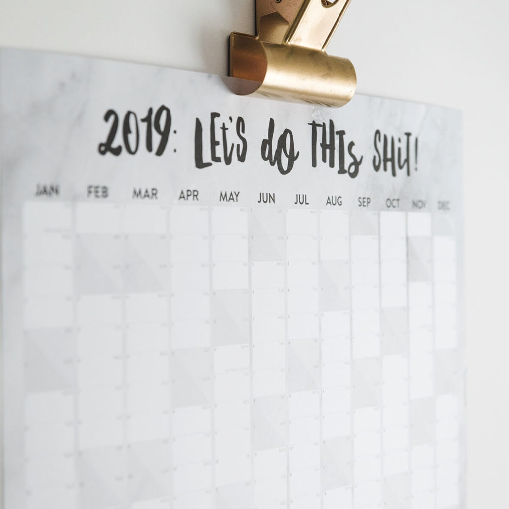 Marble Large 2019 Wall Planner 'Let's Do This Shit'