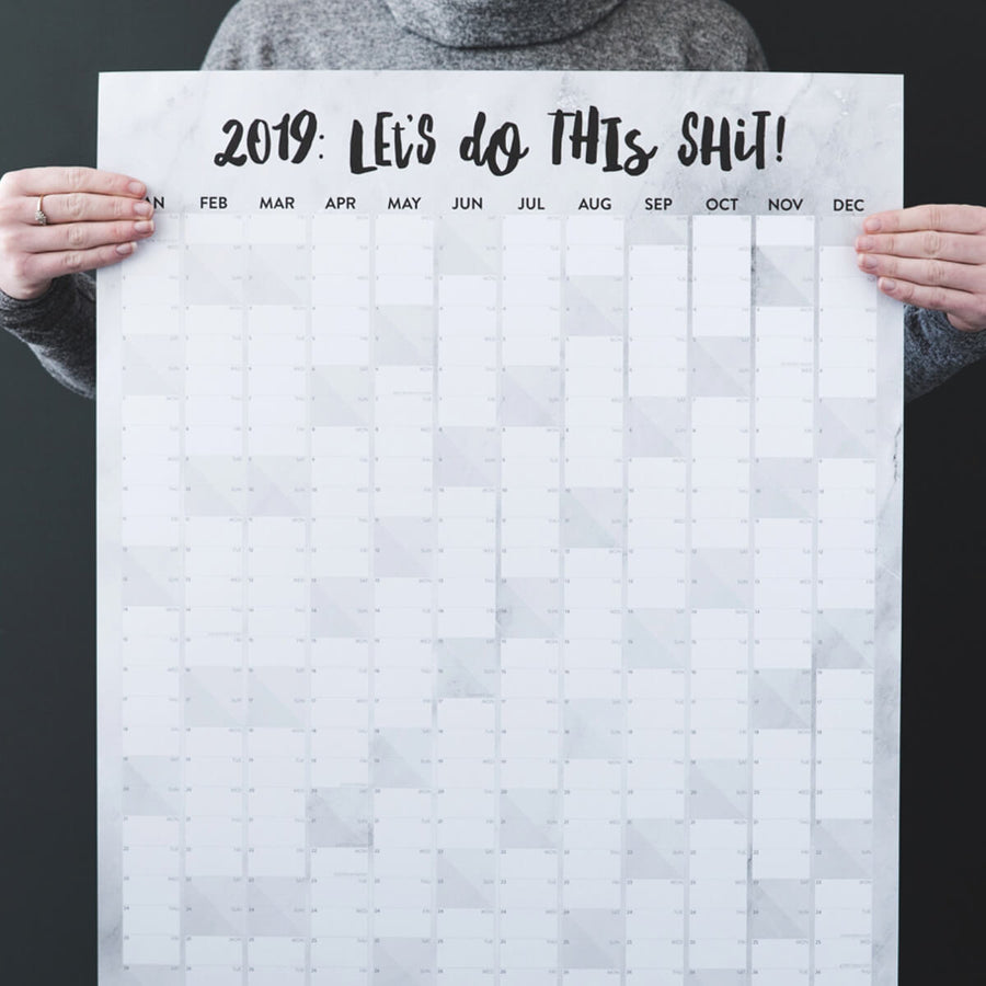 'Let's Do This Shit' 2019 Marble Effect Wall Planner