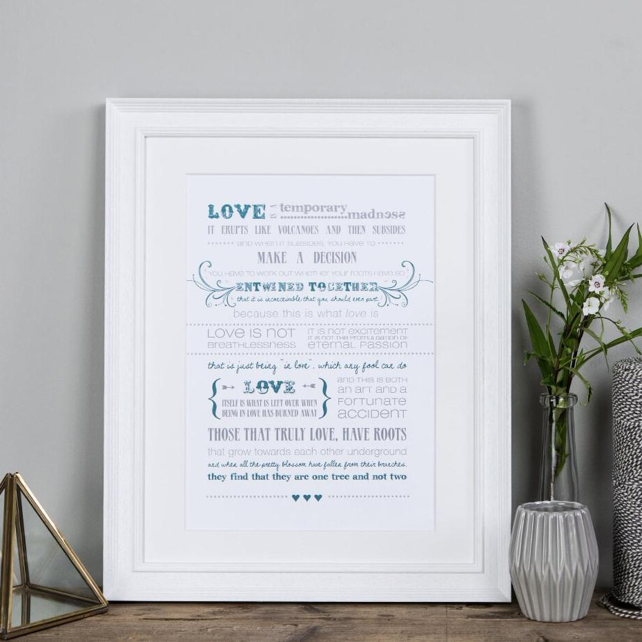 'Love Is A Temporary Madness' Print - Captain Corelli's Mandolin Quote Print