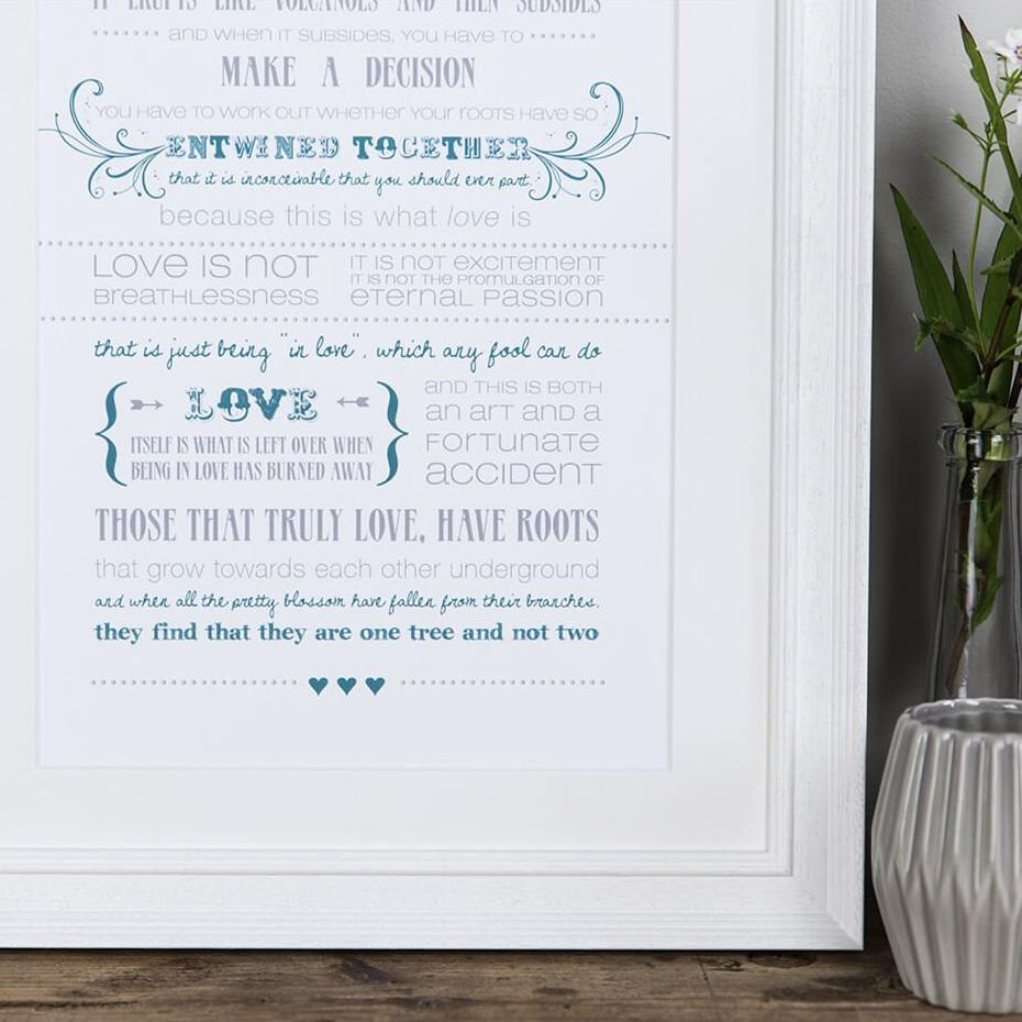 Love Quote Wall Art Poster Prints 'Love Is A Temporary Madness' print from Captain Corelli's Mandolin