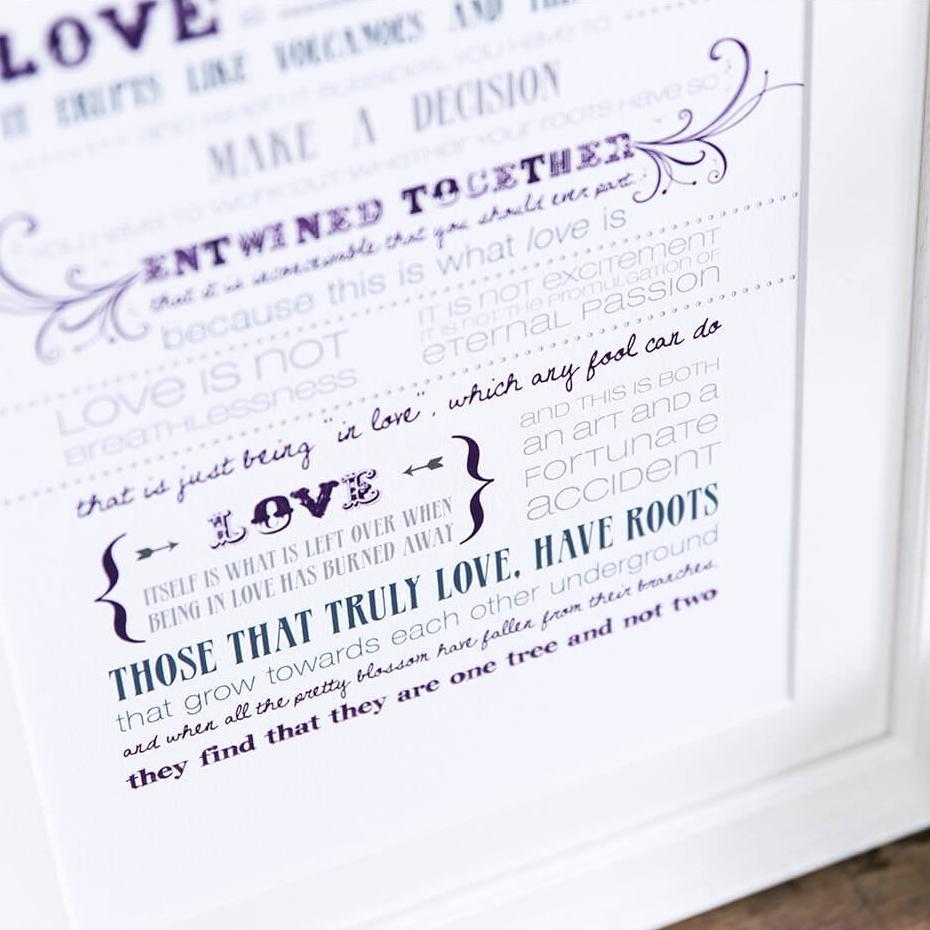Love quote poster print - 'Love Is A Temporary Madness' Print by Louis De Berniere