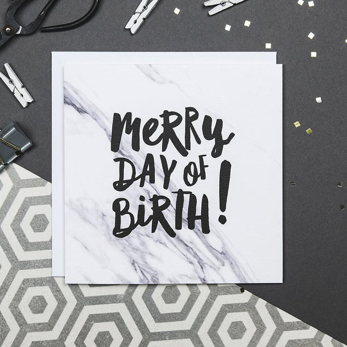 Marble birthday card 'merry day of birth'