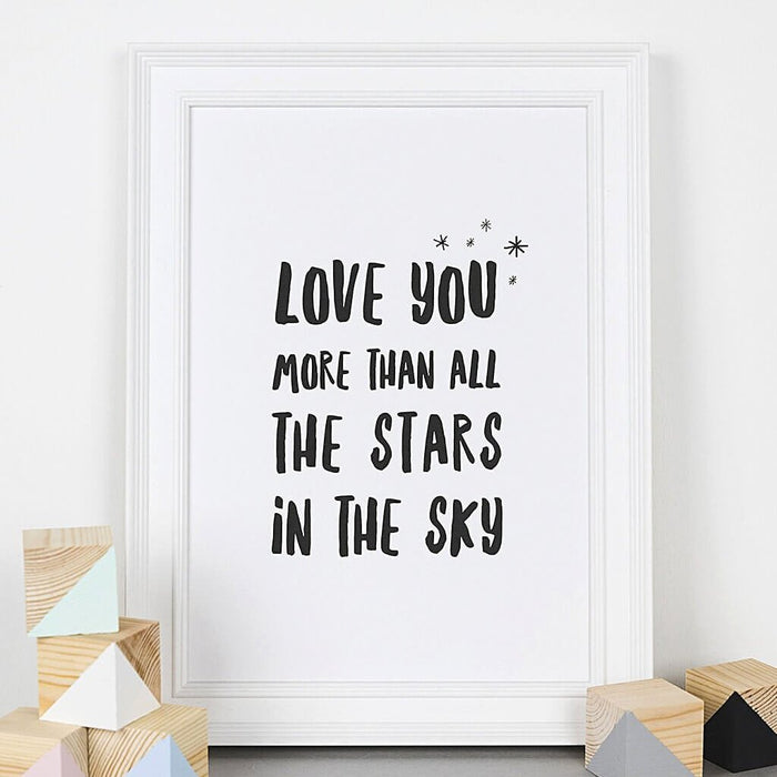 Minimalist Typographic Nursery Prints 'Love You More'