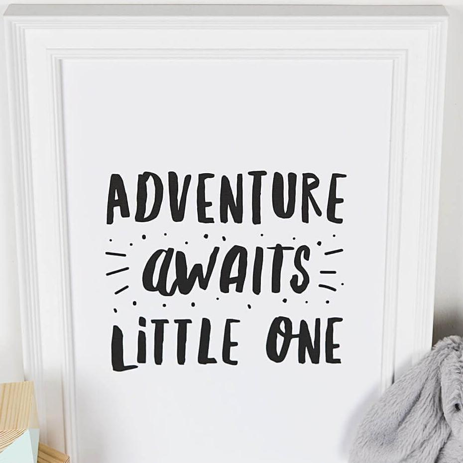 'Adventure Awaits' Monochrome Nursery Decor Print