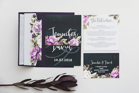 Peony Deep Teal, Deep Purple & Grey Wedding Stationery