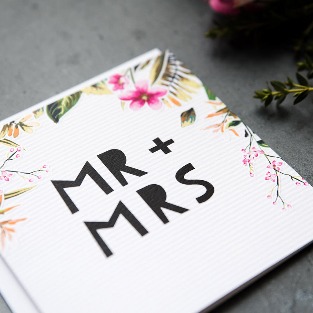 'Mr & Mrs' Tropical Wedding Card