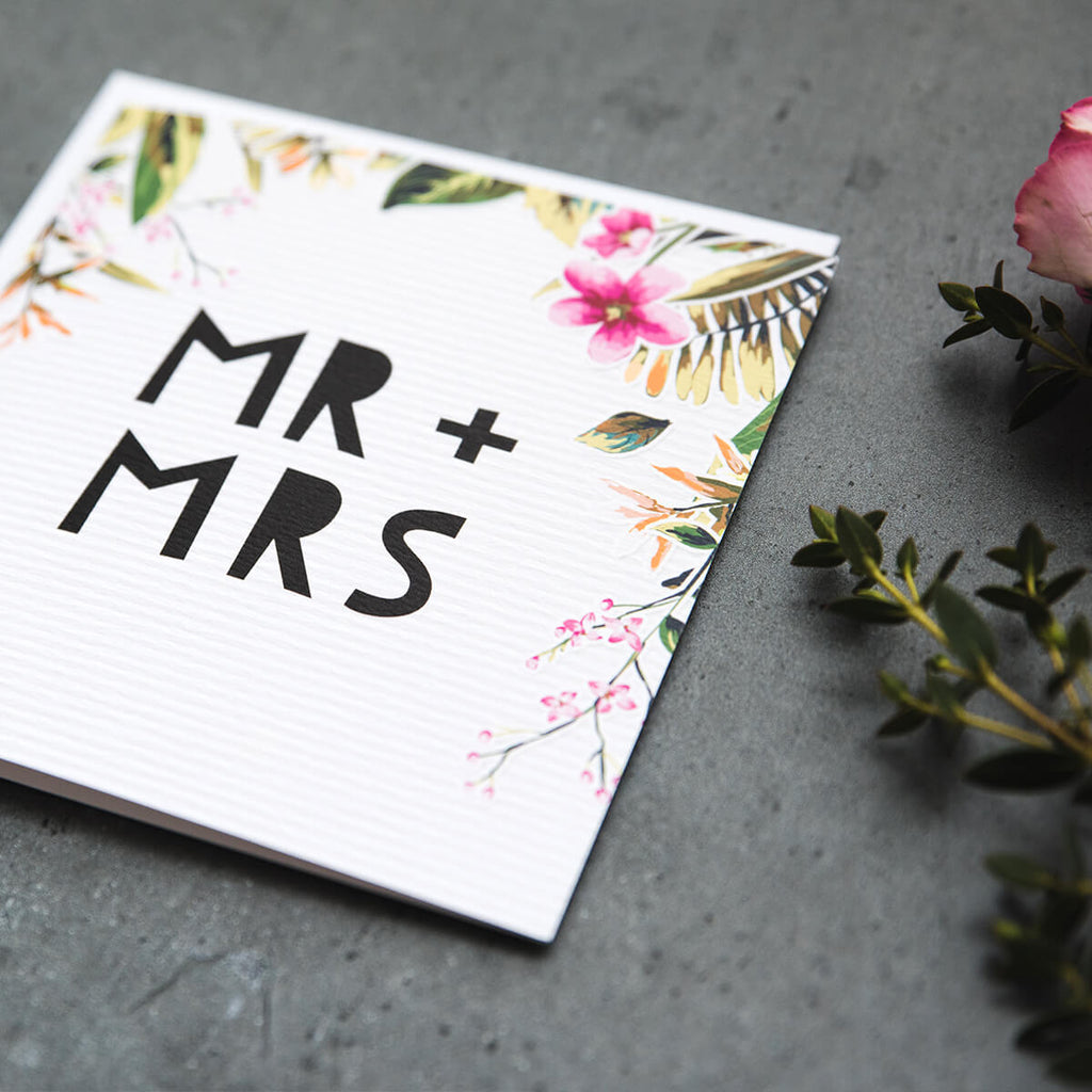 'Mr & Mrs' Floral Wedding Day Card