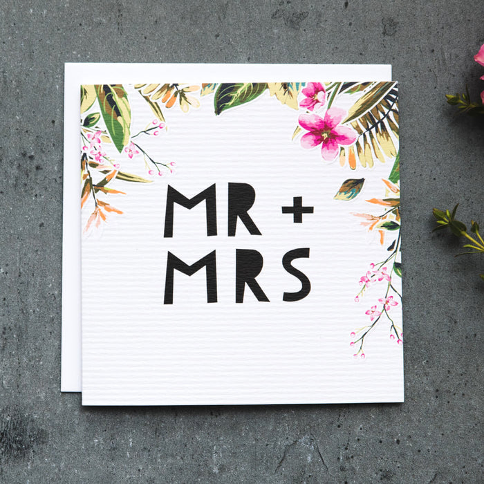 Tropical Wedding Card 'Mr & Mrs'