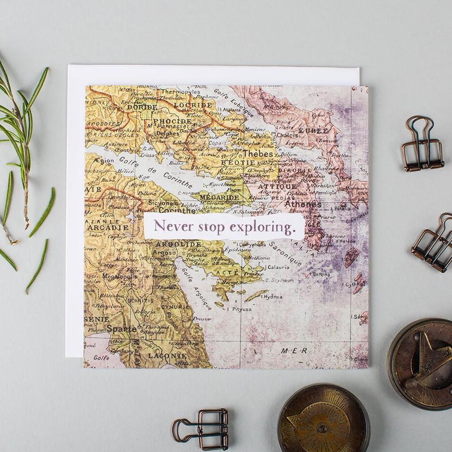 Never Stop Exploring greetings card for someone going travelling
