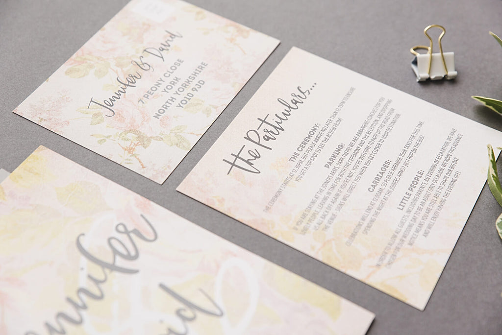 Vintage Rose Invitation Particulars