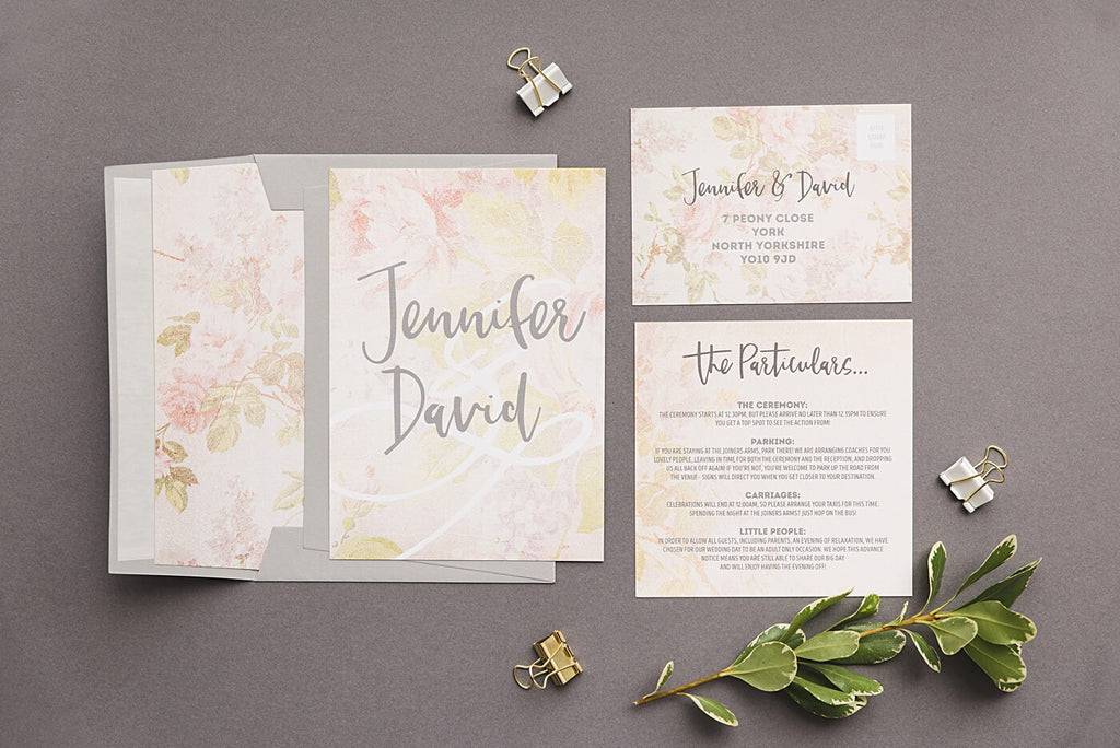 Peach Wedding Invitation Particulars