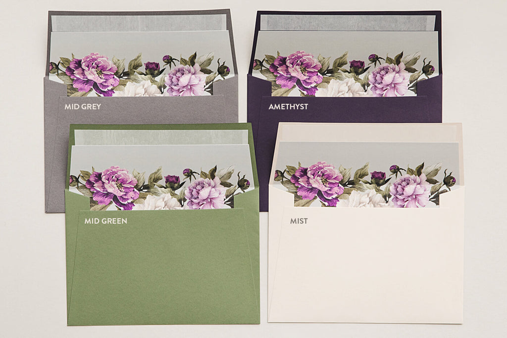 Grey, Amethyst, Mid Green & Mist Wedding Envelopes