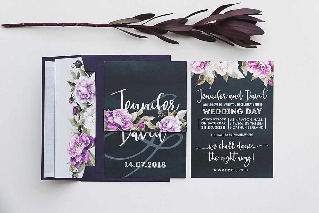 Deep Teal Peony Wedding Invites