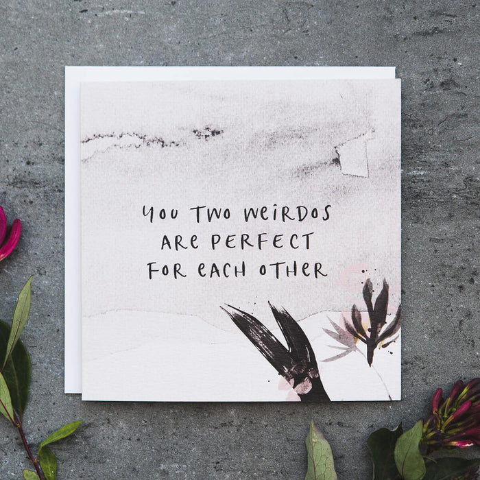 Watercolour Couples Anniversary Card 'Perfect For Each Other'