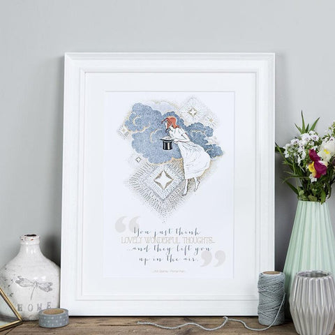 Peter Pan Quote Print 'Lovely Wonderful Thoughts' A4