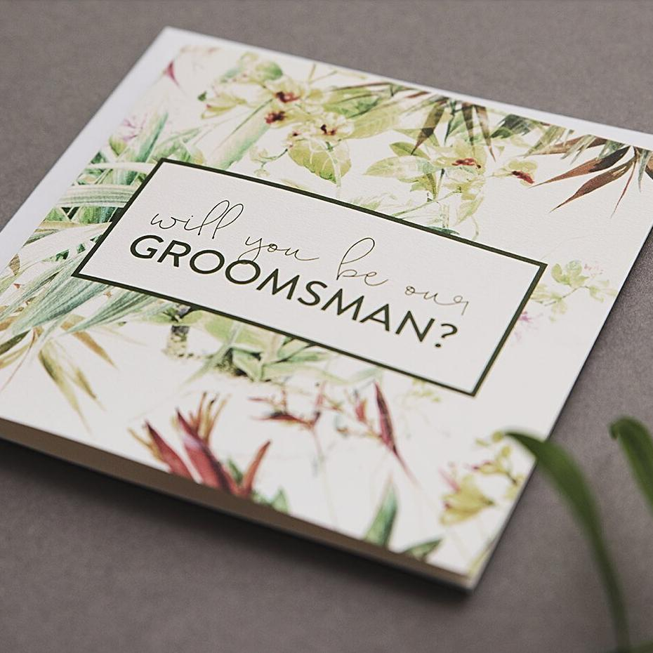 Will You Be Our Groomsman Tropical Card