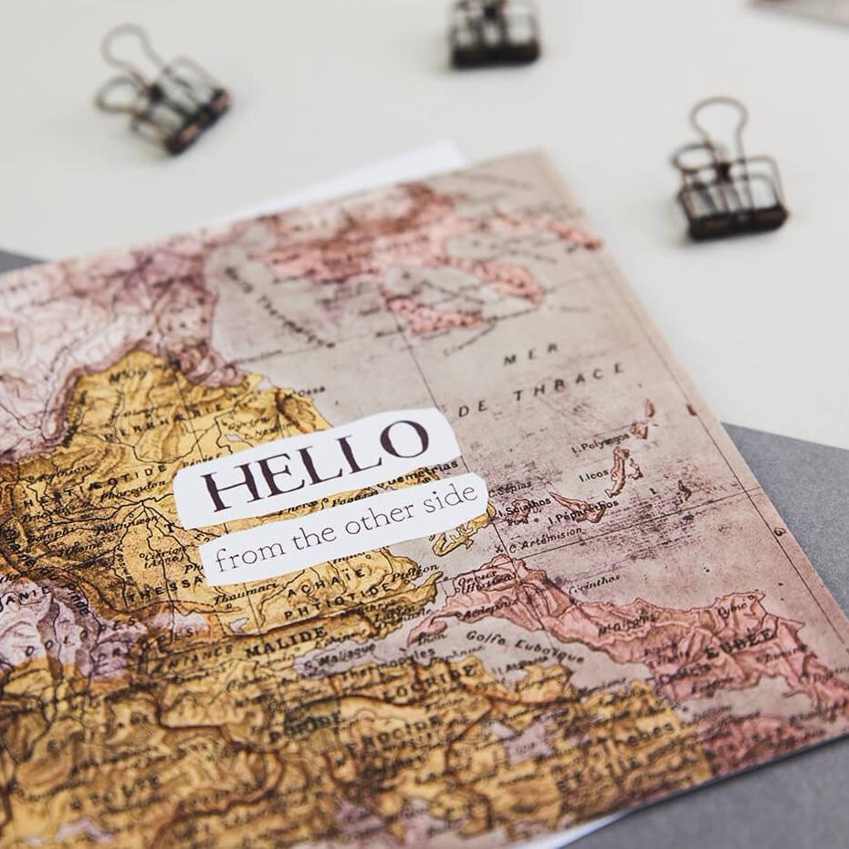 Quirky long distance card - 'Hello From The Other Side' - Adele Quote card