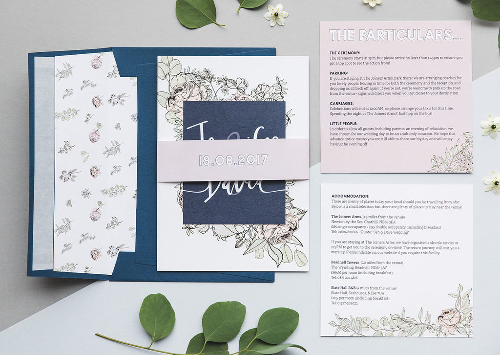 roses and eucalyptus wedding invitation suites