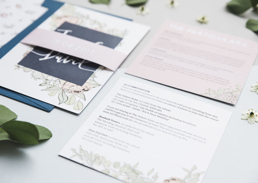 roses and eucalyptus wedding invitations