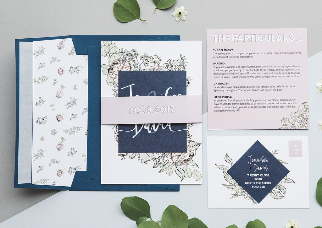 pastel and eucalyptus wedding invitations