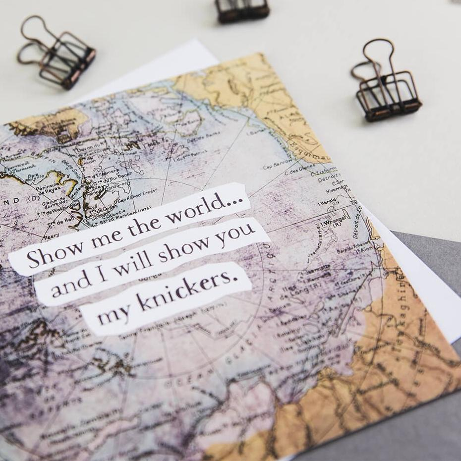'Show you my knickers' card - love or anniversary card for travelling boyfriend or husband